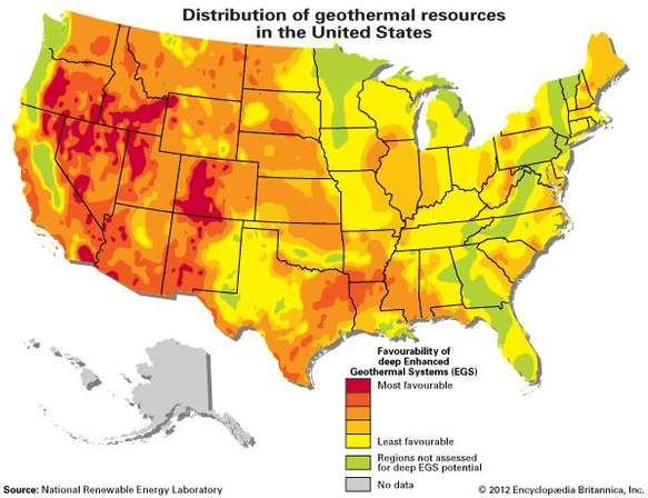 Geothermal Heating. Map of geothermal energy resources in the United States. Alternative energy.